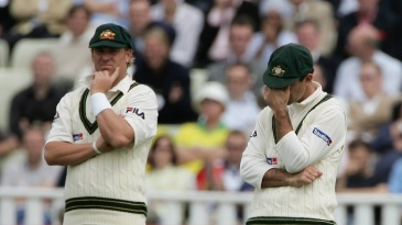 Shane Warne and Ricky Ponting look dejected as England pile on the runs on Day 1