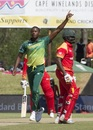 Kagiso Rabada celebrates Hamilton Masakadza's wicket, South Africa v Zimbabwe, 3rd ODI, Paarl, October 6, 2018