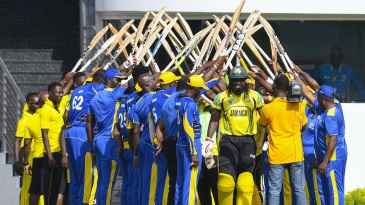 Chris Gayle, playing his final 50-over game for Jamaica, receives guard of honour from both teams