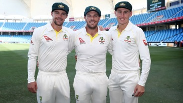 Debutants Travis Head, Aaron Finch and Marnus Labuschagne pose ahead of the game