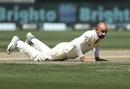 Man down: Nathan Lyon on the floor, Pakistan v Australia, 1st Test, Dubai, 2nd day, October 8, 2018