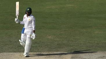Haris Sohail celebrates his maiden Test hundred