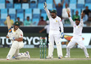 Aaron Finch waits as Pakistan go up in an appeal, Pakistan v Australia, 1st Test, Dubai, 2nd day, October 8, 2018