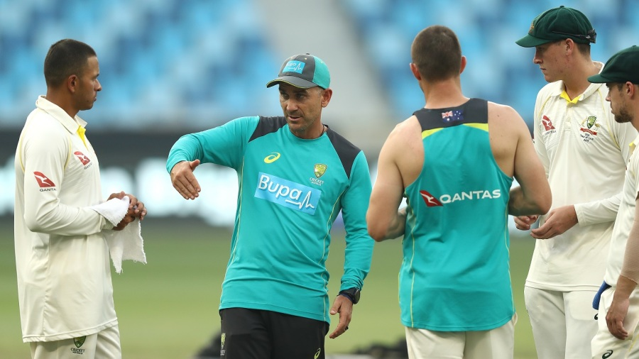 Justin Langer has a discussion with left-handers in the Australia line-up