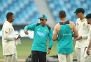 Justin Langer has a discussion with left-handers in the Australia line-up, Pakistan v Australia, 1st Test, Dubai, 3rd day, October 9, 2018