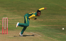 Raisibe Ntozakhe sends down a delivery, New Zealand v South Africa, Women's T20 tri-series, Bristol, June 28, 2018