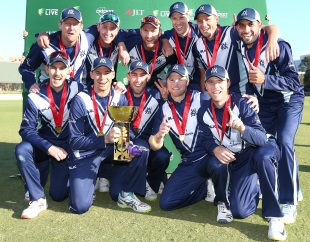 Victoria players with the JLT One-Day Cup trophy