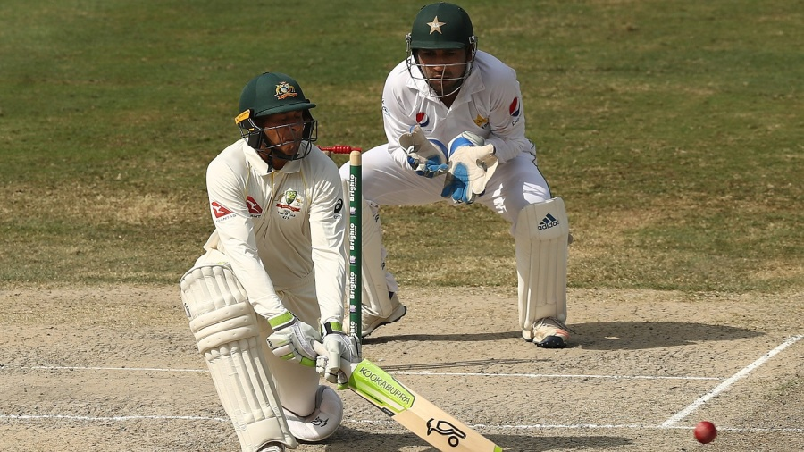 Usman Khawaja reverse sweeps