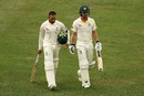 Usman Khawaja and Travis Head walk off the park at stumps, Pakistan v Australia, 1st Test, Dubai, 4th day, October 10, 2018