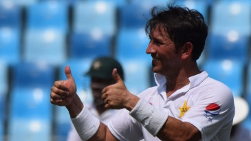 Yasir Shah gives the thumbs up