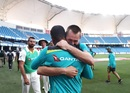 Usman Khawaja and Marnus Labuschagne are overjoyed after Australia salvaged a draw, Pakistan v Australia, 1st Test, Dubai, 5th day, October 11, 2018