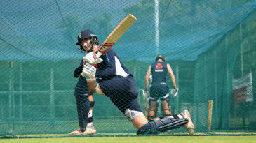 Joe Root practises his sweeping in the nets