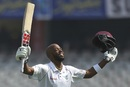 Roston Chase celebrates reaching his century, India v West Indies, 2nd Test, Hyderabad, 2nd day, October 13, 2018