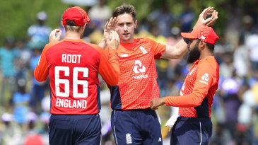 Chris Woakes struck three times in his opening spell