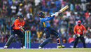 Dhananjaya de Silva rocks back to swing over the leg side, Sri Lanka v England, 2nd ODI, Dambulla, October 13, 2018