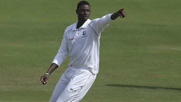 Jason Holder celebrates Ajinkya Rahane's wicket
