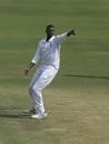 Jason Holder celebrates Ajinkya Rahane's wicket, India v West Indies, 2nd Test, Hyderabad, Day 3, October 14, 2018