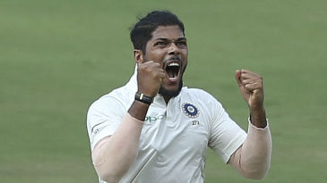 Umesh Yadav celebrates his maiden ten-for in Tests