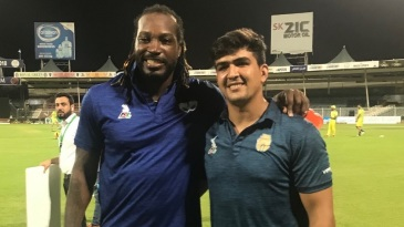 Hazratullah Zazai and his idol Chris Gayle come together for a photo
