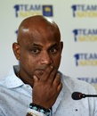 Sanath Jayasuriya attends a press conference