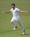 Mir Hamza of Pakistan A celebrates dismissing Jonny Bairstow of England, Pakistan A v England, 2nd Day, Sharjah, October 9, 2015
