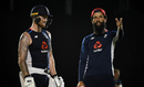 Moeen Ali and Ben Stokes train ahead of the third ODI, Pallekele, October 16, 2018