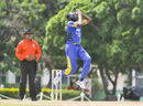 Sulieman Benn leaps in his delivery stride, Barbados v United States of America, Super50 Cup, Group B, Cave Hill, October 16, 2018