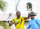 Jermaine Blackwood celebrates his hundred, Jamaica v Leeward Islands, Super50 Cup, Group B, Bridgetown, October 16, 2018