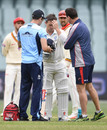 Steve O'Keefe gets checked after being struck on the helmet, South Australia v New South Wales, Sheffield Shield 2018-19, Adelaide, 2nd day, October 17, 2018