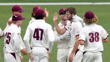 Mark Steketee celebrates a wicket with his teammates