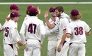 Mark Steketee celebrates a wicket with his teammates, Queensland v Tasmania, Sheffield Shield 2018-19, Brisbane, 3rd day, October 18, 2018