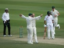 Nathan Lyon and Shaun Marsh celebrate Haris Sohail's dismissal, Pakistan v Australia, 2nd Test, Abu Dhabi, 3rd day, October 18, 2018