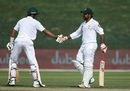Babar Azam congratulates Sarfraz Ahmed on his second fifty of the Test, Pakistan v Australia, 2nd Test, Abu Dhabi, 3rd day, October 18, 2018