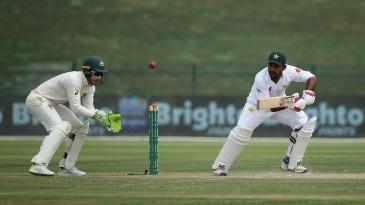 Sarfraz Ahmed plays a late cut