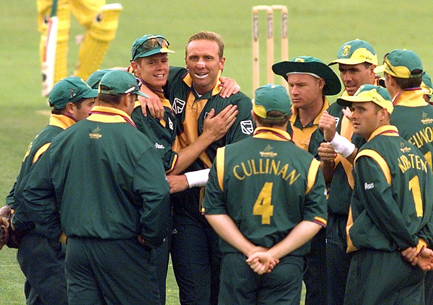 Nine and no joy: Allan Donald and Shaun Pollock accounted for all but one of Australia's wickets, restricting them to 213
