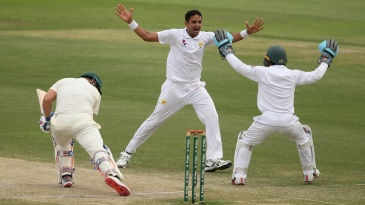 Mohammad Abbas celebrates Aaron Finch's lbw dismissal