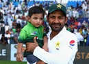 Sarfraz Ahmed with his son after winning the game, Pakistan v Australia, 2nd Test, Abu Dhabi, 4th day, October 29, 2018