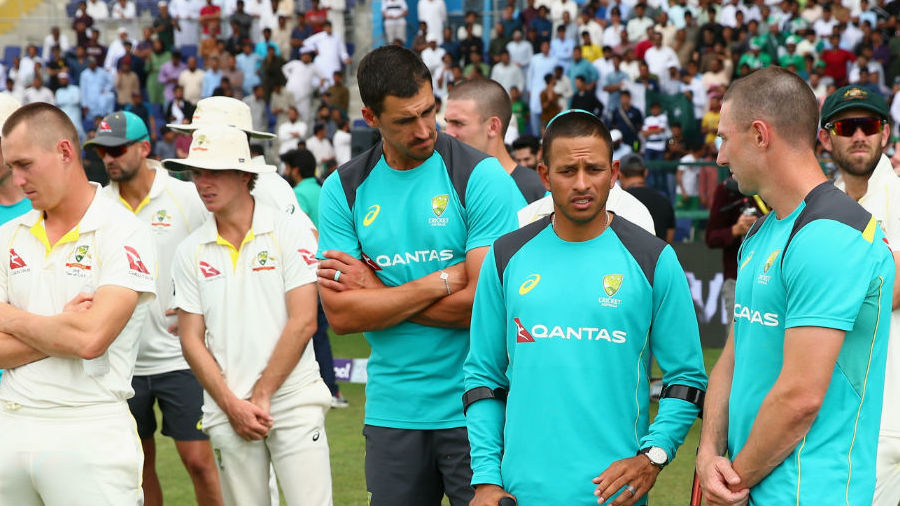 Usman Khawaja and his deflated Australia team-mates after the series loss in UAE