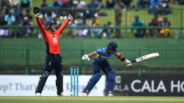 Jos Buttler belts out an appeal after Kusal Mendis is pinned in front
