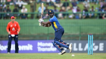 Thisara Perera plays behind square