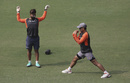 MS Dhoni and Rishabh Pant train ahead of the first ODI against West Indies, Guwahati, October 20, 2018