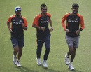 Kuldeep Yadav, Yuzvendra Chahal and Khaleel Ahmed warm up ahead of the first ODI against West Indies, Guwahati, October 20, 2018