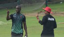 Donald Tiripano and Zimbabwe coach Lalchand Rajput at training on the eve of the first ODI against Bangladesh, Mirpur, October 20, 2018