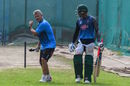 Bangladesh coach Steve Rhodes gives Ariful Haque some pointers on the eve of the first ODI against Zimbabwe, Mirpur, October 20, 2018