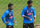 Bangladesh players Mehidy Hasan and Fazle Mahmud at training on the eve of the first ODI against Zimbabwe, Mirpur, October 20, 2018