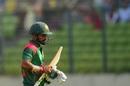 Liton Das walks back after being dismissed, Bangladesh v Zimbabwe, 1st ODI, Mirpur, October 21, 2018