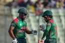 Imrul Kayes and Mushfiqur Rahim fist-bump each other, Bangladesh v Zimbabwe, 1st ODI, Mirpur, October 21, 2018