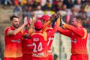 Kyle Jarvis celebrates with his team-mates, Bangladesh v Zimbabwe, 1st ODI, Mirpur, October 21, 2018