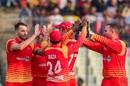 Kyle Jarvis celebrates with his team-mates, Bangladesh v Zimbabwe, 1st ODI, Mirpur, October 21, 2018