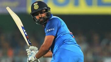 Rohit Sharma flicks the ball to the leg side